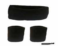 Headband and Wristbands 3 Pack Black