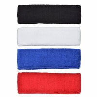Terry Cloth Headbands 4 Pack Black, White, Blue, and Red