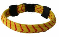 Titanium Ionic Braided Sports Power Bracelet Yellow Softball Flat