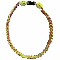 Titanium Ionic Braided Sports Power Necklace Yellow Softball