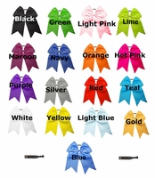 "7"" Big Hair Bows With Ponytail Holder 24 Pack U Pick Colors"