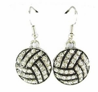 Volleyball Crystal Rhinestone Hook Earrings