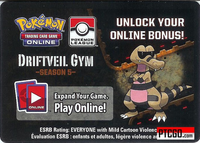 POKEMON PTCGO DRIFTVEIL GYM CODE SEASON 5 - Pokemon League Card Code Season Five - Delivered Super Fast By Email - Each code unlocks (2) Sandslash (1) Rocky Helmet and (4) Fighting Energy for a total of 7 promo cards.