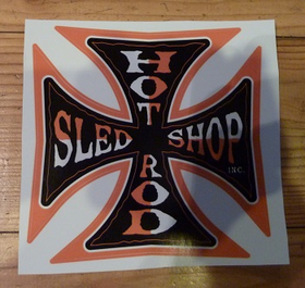 Hot ROd Sled Shop Inc. Decal - Orange 3""
