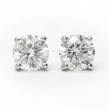 0.85 Carat tw. Round Brilliant Diamond Basket Style Stud Earrings 14k white Gold G-SI1