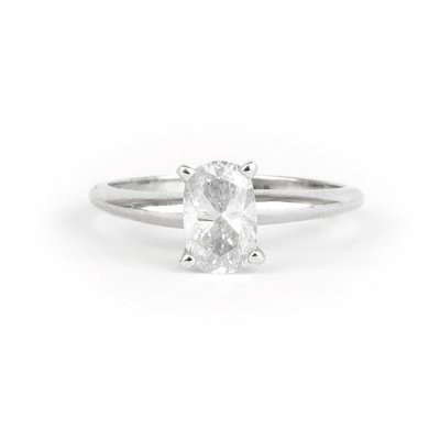 14kt Classic Solitaire Style Ring With 1.01 Carat E-SI2 Cushion Diamond
