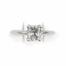 14kt Classic Solitaire Style Ring With 1.04 Carat H-SI1 Cushion  Diamond