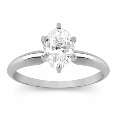 14kt Classic Solitaire Style Ring With 1.52 Carat G-SI1 Oval Diamond