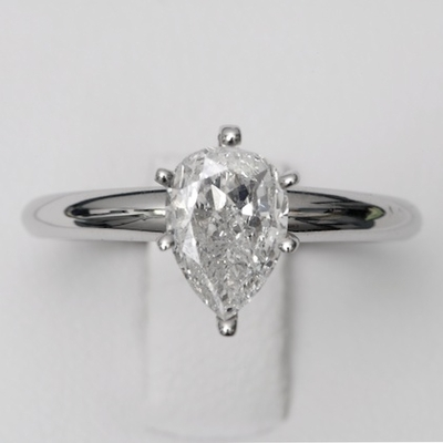 14kt Classic Solitaire Style Ring With 1.62 ct D-VSI PearDiamond