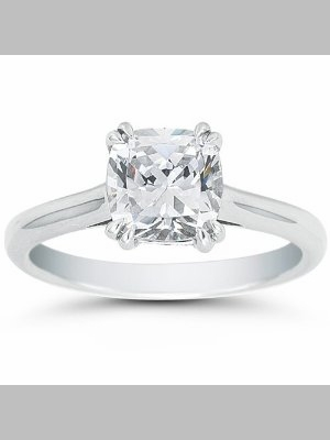 14kt Classic Solitaire Style Ring With 2.01 Cushion SI1-G Cushion Diamond