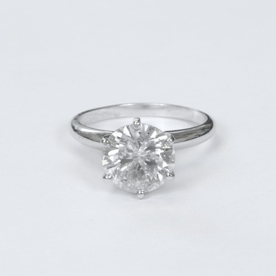 14kt Classic Solitaire Style Ring With 2.03 Carat G-SI1 Round Diamond