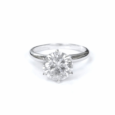 14kt Classic Solitaire Style Ring With 2.65  Carat I-SI2 Round Diamond
