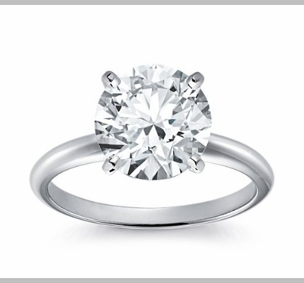 14kt Classic Solitaire Style Ring With 3.29 Carat H-SI3 Round Diamond