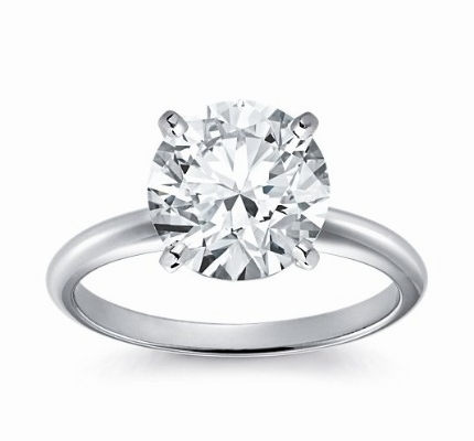 14kt Classic Solitaire Style Ring With 1.71 Carat G-SI1  Round Diamond for