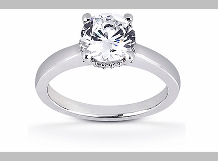 14kt Classic Style Semi Mount Ring With 2.70 Carat H- SI-3 Round Diamond
