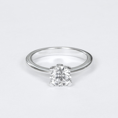 14kt Classic Style Solitaire Ring With 1.05 Carat G- SI3 Round Diamond