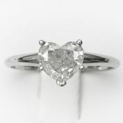 14kt Classic Style Solitaire Ring With 1.09 Carat G-SI2 Heart Diamond