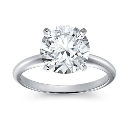 14kt Classic  Style Solitaire Ring With 1.08 Carat  G- SI-2 Round Diamond