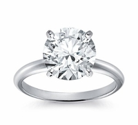 14kt Classic Style Solitaire Ring With 3.20 Carat  G- SI1 Round Diamond
