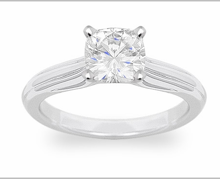14kt Classic Style Solitaire Ring With 1.75 Carat G- V SI-2 Cushion Cut Diamond