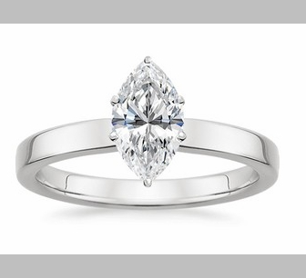 14kt Classic Style Solitaire Ring With 2.10 Carat G- SI3 Marquise Cut Diamond