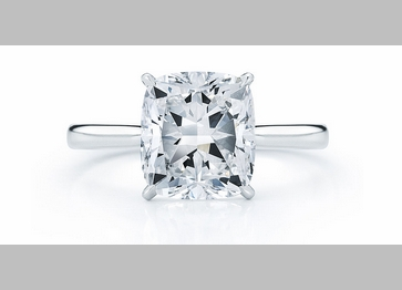 14kt Classic Style Solitaire Ring With 2.10 Carat H- SI2 Cushion Cut Diamond