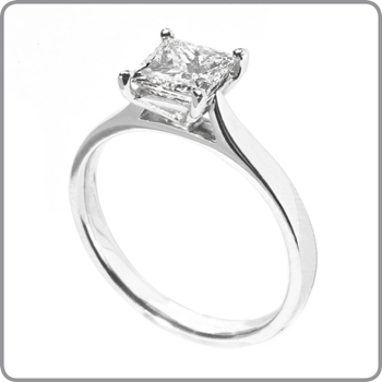 5f3b9c37eff 14kt Classic Style Solitaire Ring With 2.10 Carat H- SI2 Princess Cut  Diamond