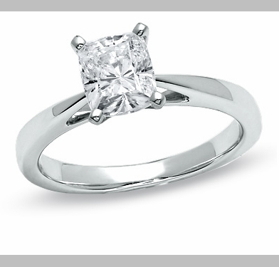 14kt Classic Style Solitaire Ring With 2.20 Carat H- SI2 Cushion Cut Diamond