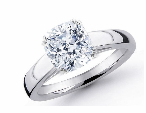 14kt Classic Style Solitaire Ring With 2.29 Carat H- SI3 Cushion Cut Diamond