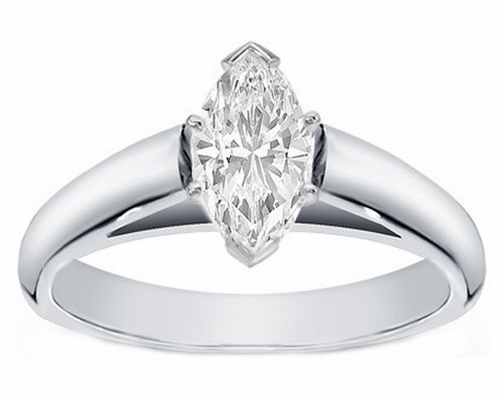 14kt Classic Style Solitaire Ring With 2.35 Carat G- SI2 Marquise Cut Diamond