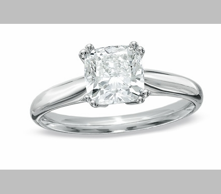 14kt Classic Style Solitaire Ring With 2.42 Carat G- SI2 Cushion Cut Diamond