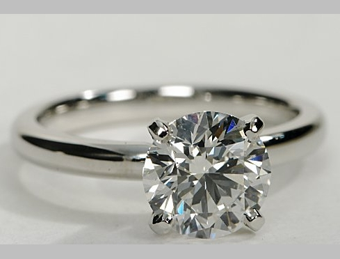 14kt Classic Style Solitaire Ring With 2.43 Carat G- SI2 Round Diamond