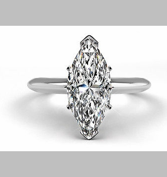 14kt Classic Style Solitaire Ring With 2.48 Carat G- SI3 Marquise Cut Diamond