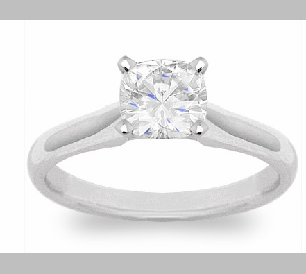14kt Classic Style Solitaire Ring With 2.60 Carat H- SI2 Cushion Cut Diamond