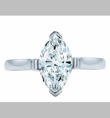 14kt Classic Style Solitaire Ring With 2.70 Carat H- SI2 Marquise Cut Diamond