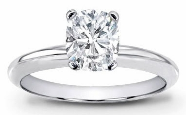 14kt Classic Style Solitaire Ring With 2.75 Carat H- SI2 Cushion Cut Diamond