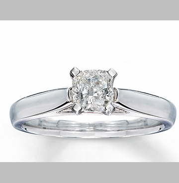 14kt Classic Style Solitaire Ring With 2.76 Carat G- SI3 Cushion Cut Diamond