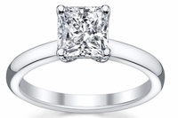 14kt Classic Style Solitaire Ring With 2.89 Carat H- SI3 Princess Diamond