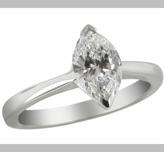 14kt Classic Style Solitaire Ring With 3.04 Carat F-SI3 Marquise Cut Diamond