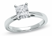 14kt Classic Style Solitaire Ring With 3.20 Carat G- SI1 Cushion Cut Diamond