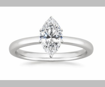 14kt Classic Style Solitaire Ring With 3.20 Carat G- SI1 Marquise Cut Diamond