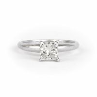 14kt Gold Classic Solitaire Style Ring With 1.01 Ct H-SI1 Princess Diamond