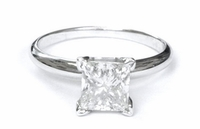 14kt Gold Classic Solitaire Style Ring With 2.00 Ct H-SI3 Princess Diamond