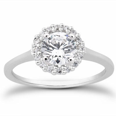 14kt Halo Pave Diamond Engagement Ring 1.52 Total Weight F SI1