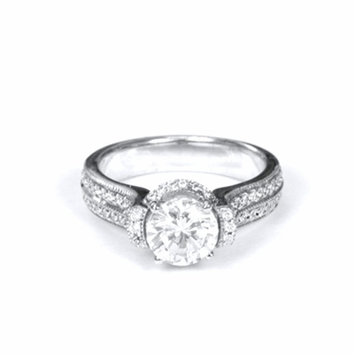 14kt Halo Pave Diamond Engagement Ring 2.07 Total Weight G SI1