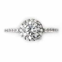 14kt Halo Pave Diamond Engagement Ring 1.65 Total Weight F SI1