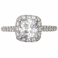 14kt Halo Pave cushion Diamond Engagement Ring 1.93 Total Weight G SI1