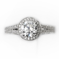 14kt Halo Pave Diamond Engagement Ring 2.45 Total Weight  G  SI1