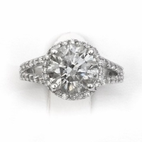 14kt Halo Pave Diamond Engagement Ring 3.50 Total Weight G SI3