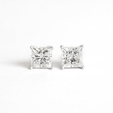 2.02 Carat tw. Princess Cut Diamond  Stud Earrings 14k White Gold F SI1